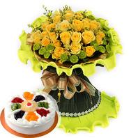 노란꽃+케이크